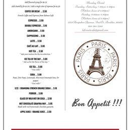 Le French Cafe Boulder Menu