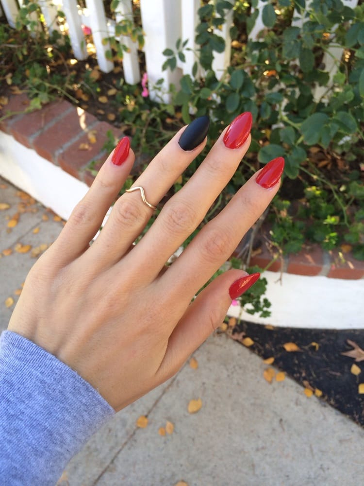 Literally the best stiletto nails. Thank you majestic! Red with ...