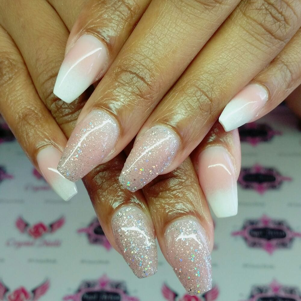 Baby boomer/french fade nude acrylic sculpted nails with holographic ...