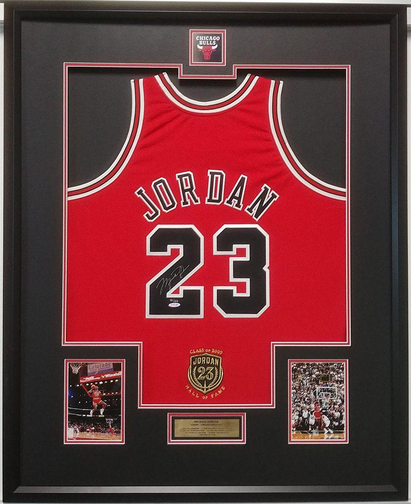 6c91f0f5ea361 Michael Jordan Signed Jersey Custom Framed w/ Photos & Plaque Full ...
