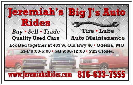 Jeremiah's Rides: 403 Interstate 70 Frontage Rd, Odessa, MO
