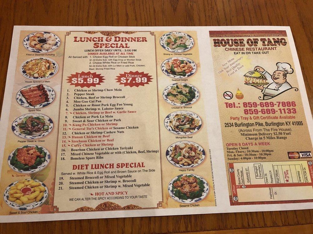 House of Tang: 2534 Burlington Pike, Burlington, KY