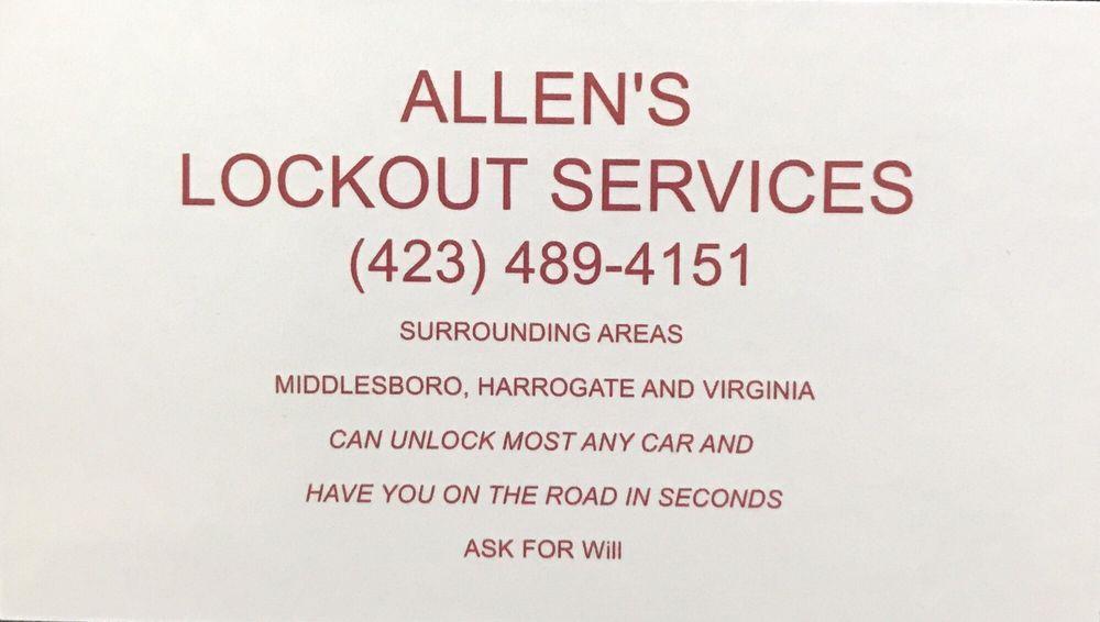 Allen's Lockout Services: 262 Hill Rd, Harrogate, TN