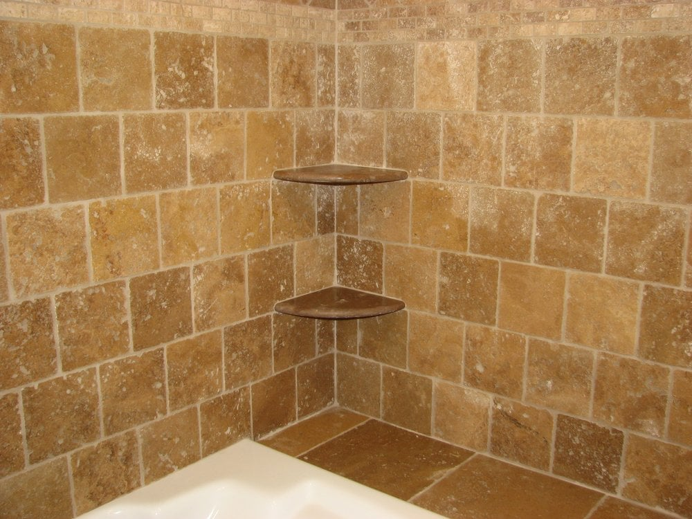 Travertine Wall Tile With Marble Shelves Yelp