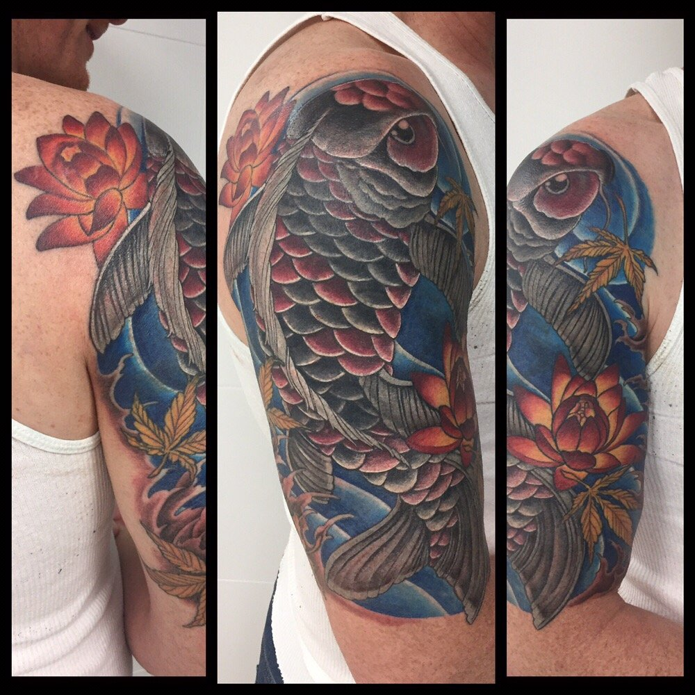 Koi fish half sleeve it 39 s also a coverup yelp for Tattoo shops studio city