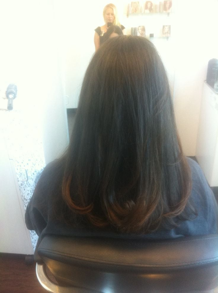 Smooth Blunt Haircut And Long Lasting Blow Out To Smooth Thick And