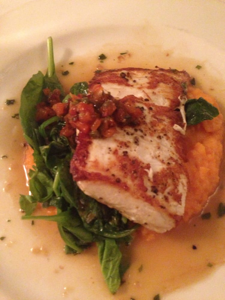 Pan roasted halibut carrot pur e baby spinach and roasted pepper relish amazing in every - Kitchen table richmond vt ...