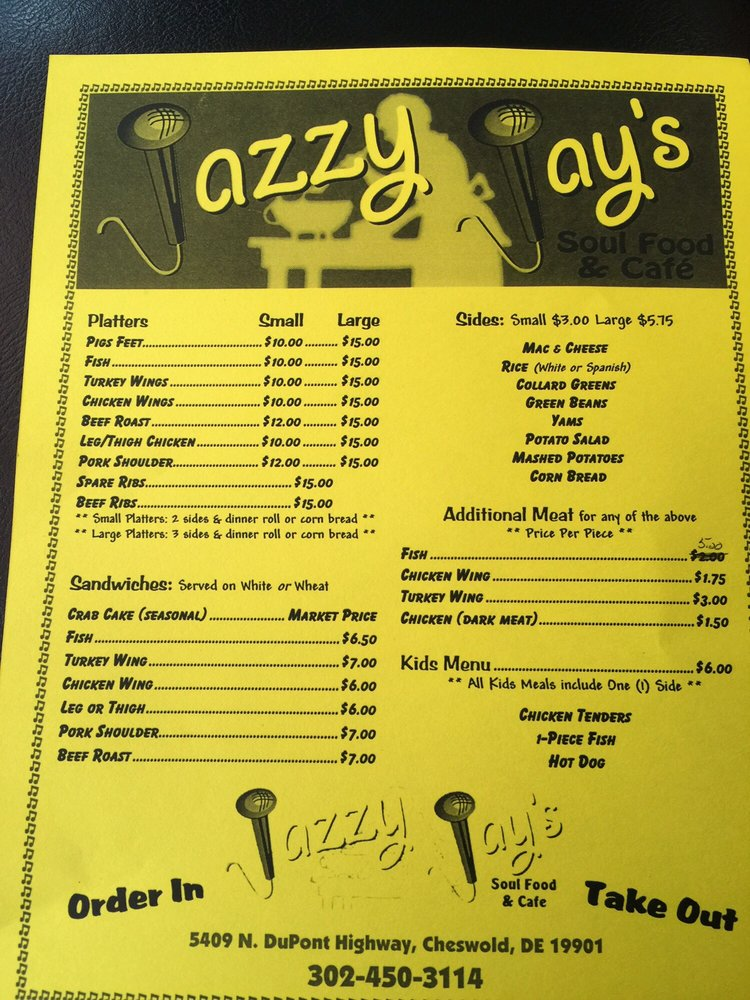 Jazzy Jays Soul Food Dover De Menu
