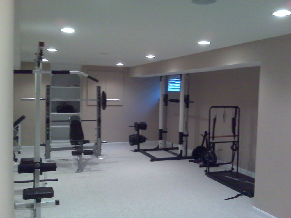 Remodeled basement to exercise room yelp for Basement workout room