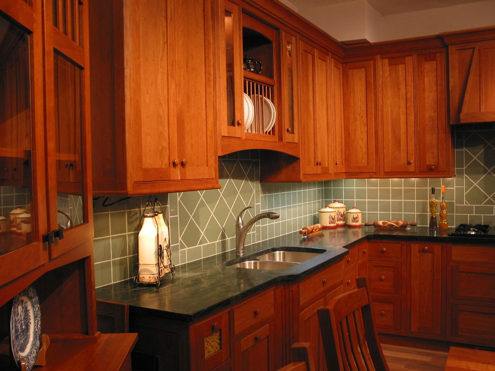 Kitchen With Cherry Cabinets Green Tile Countryside Cabinets From