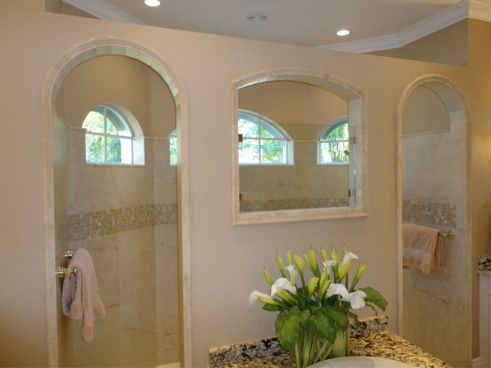 Marble Chair Rail Was Used On The Shower Opening Archways