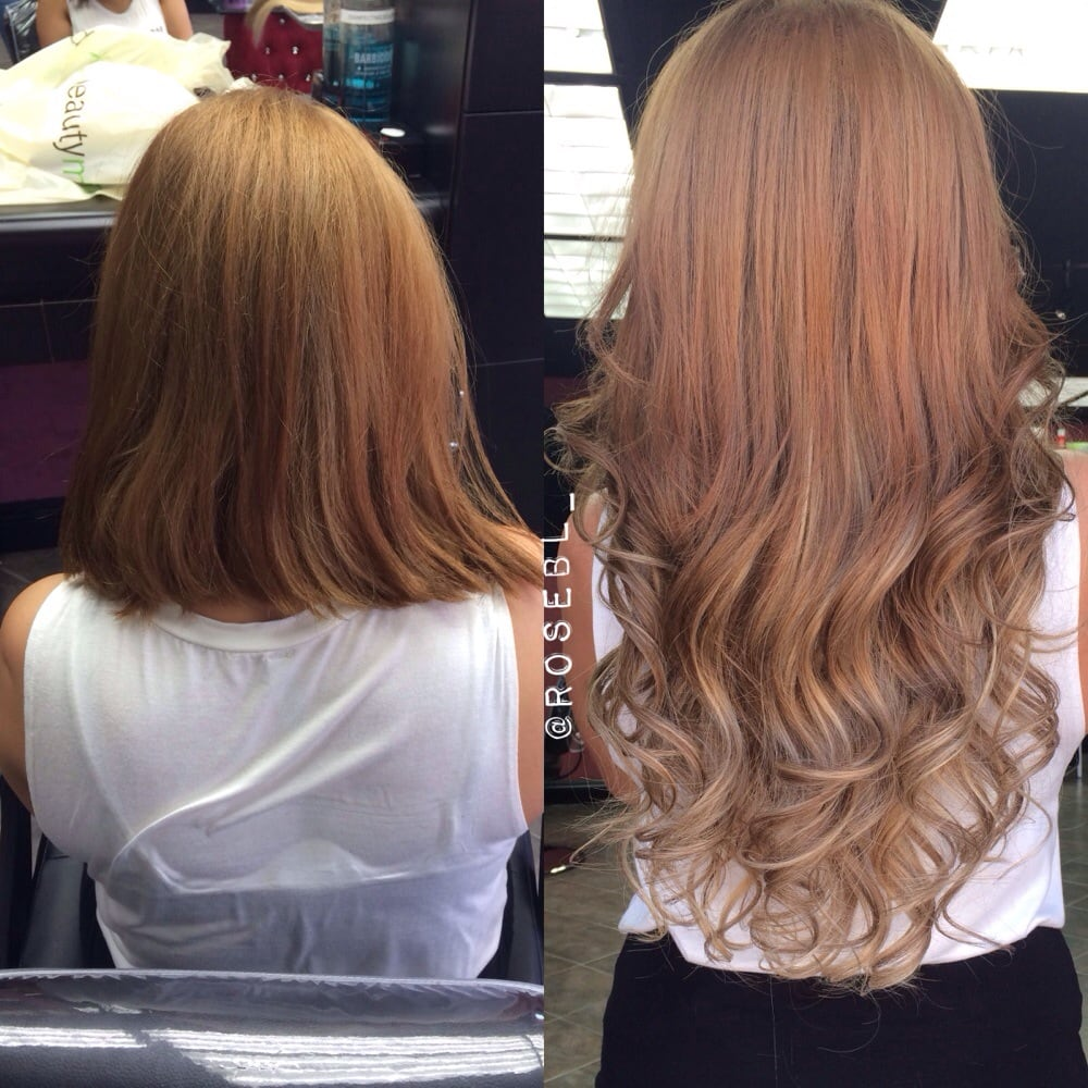 Beforeafter Ballayage Ombr Created With Track Hair Extensions Yelp