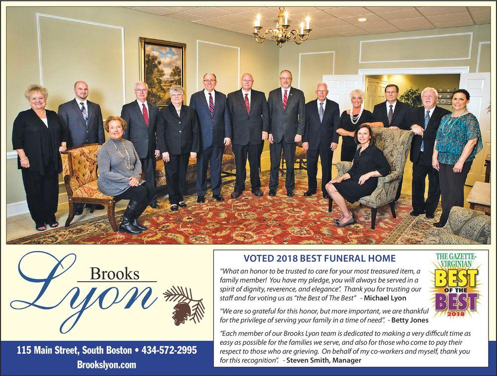 Brooks Lyon Funeral Home: 115 Main St, South Boston, VA