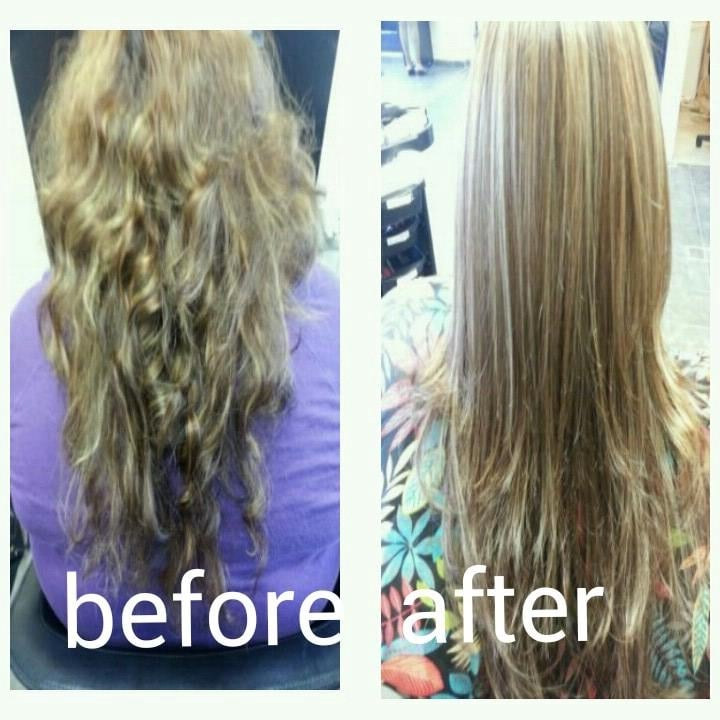 Before And After Of Extremely Damaged Hair And In Need Of Color