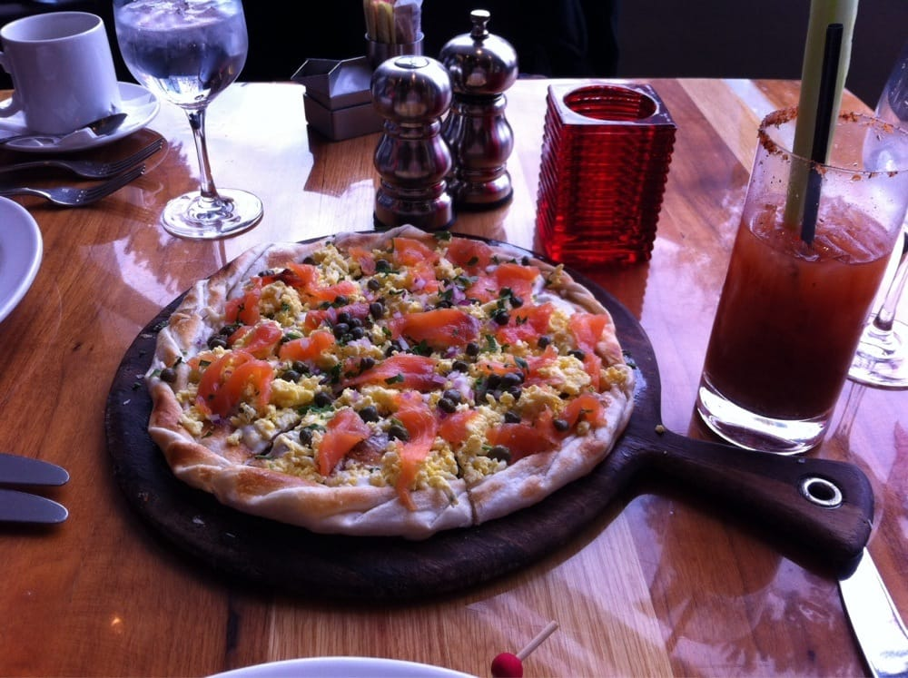 Lox flatbread at brunch. - Yelp