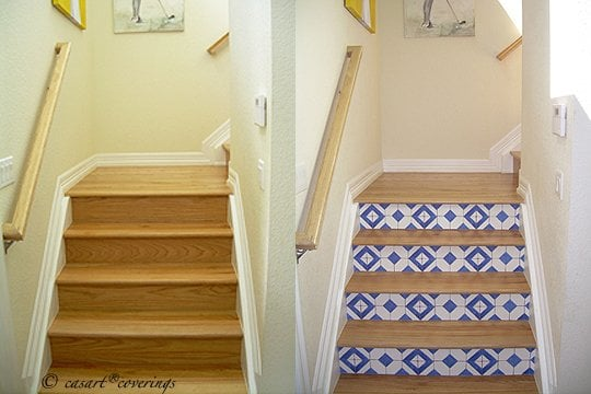 Before And After Casart Faux Tile Stair Risers Yelp