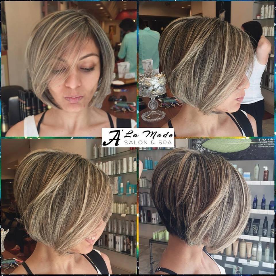Bob cut on platinum blonde highlights yelp for A la mode salon brooklyn