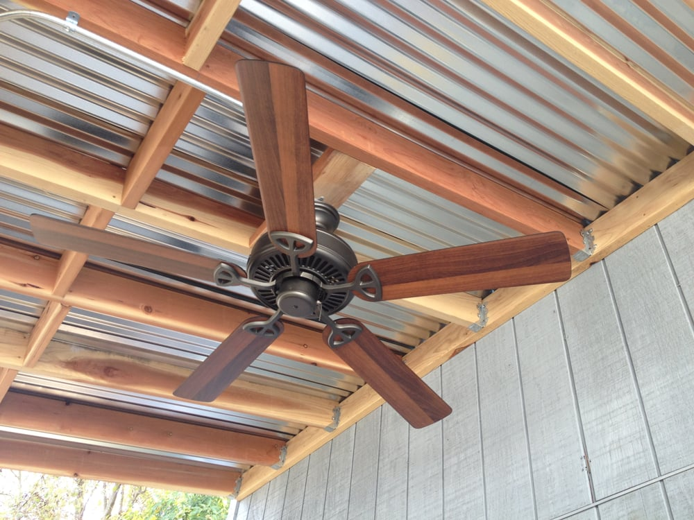 Outdoor Kitchen Galvanized Ceiling Panels With Ceiling Fan Yelp