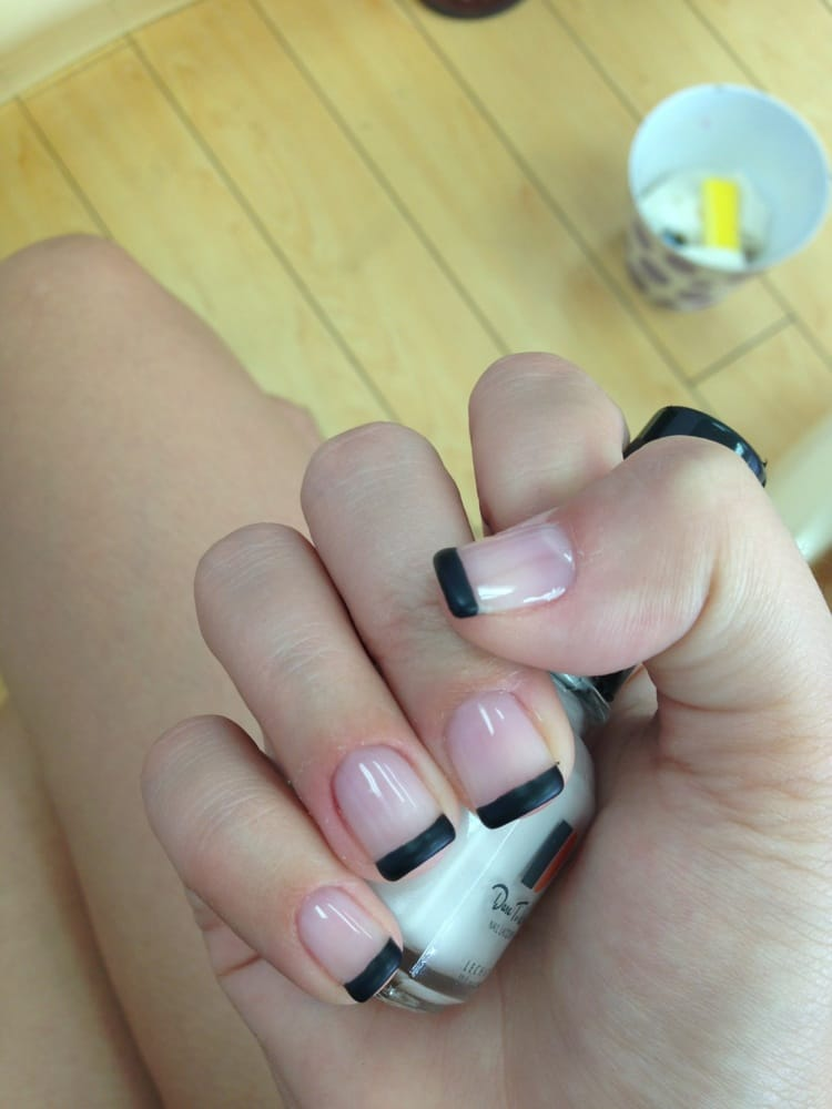 Gel manicure with black matte French tip - Yelp
