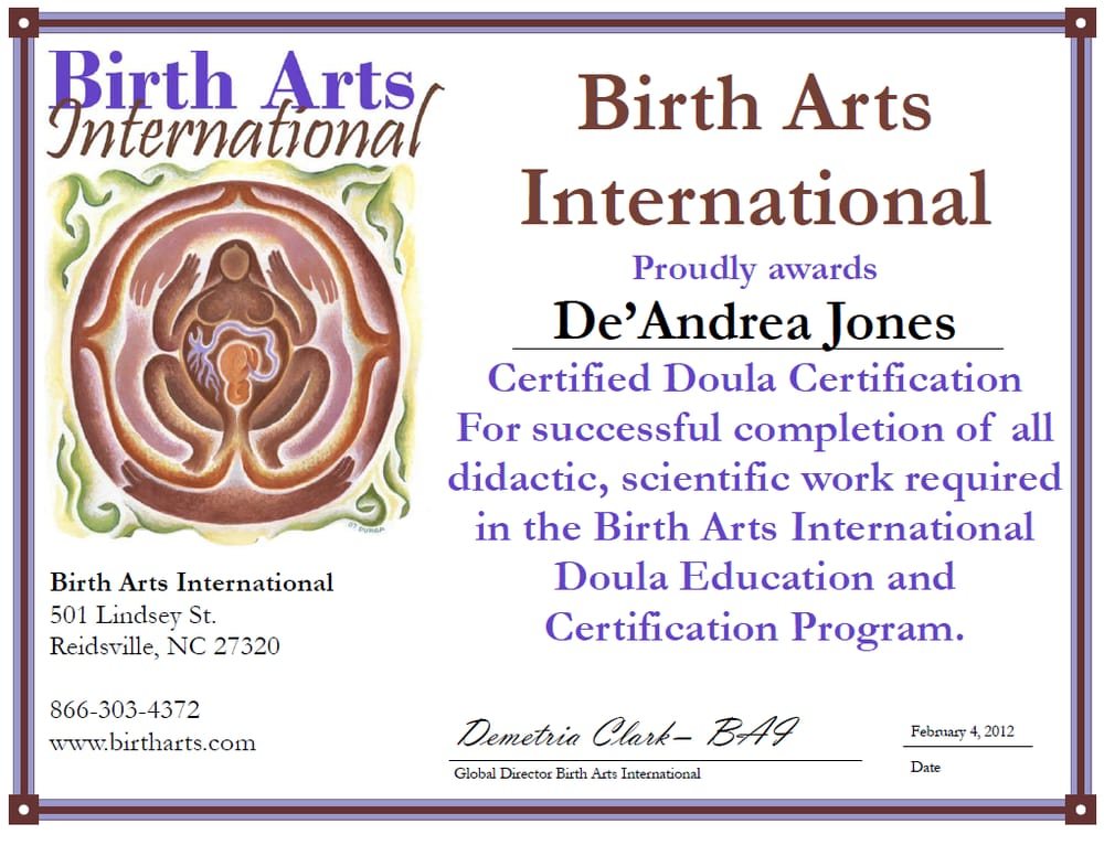 happily certified by birth arts international - yelp