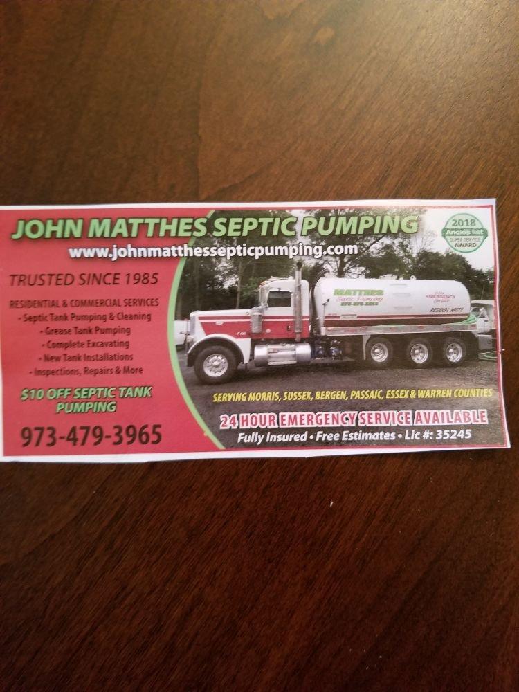 John Matthes Septic Pumping - Septic Services - Wharton, NJ