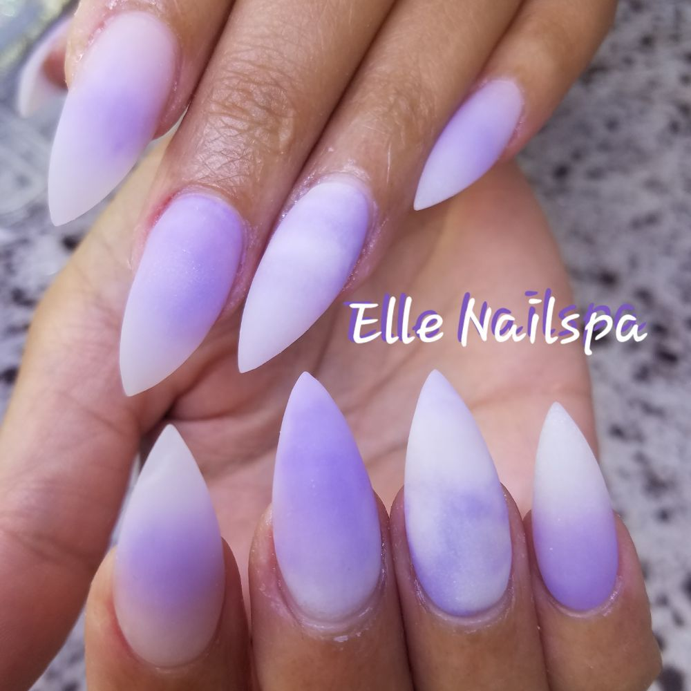 Amtheyst ombre nails (glow in the dark) matte - Yelp
