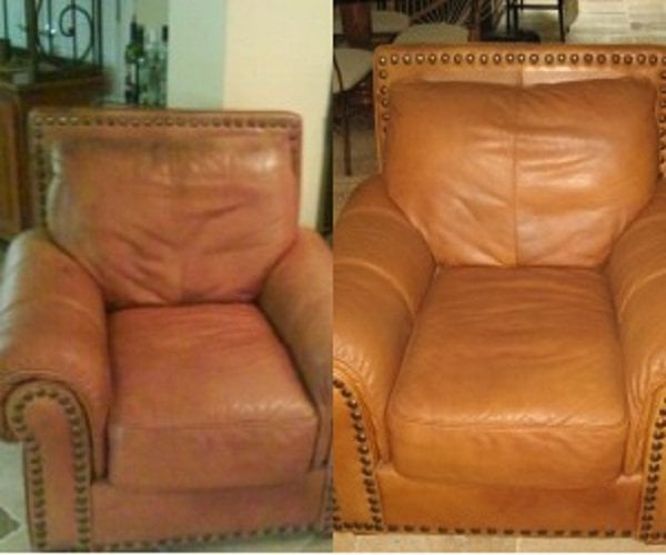 Leather chair dye paint work yelp for How to paint leather furniture