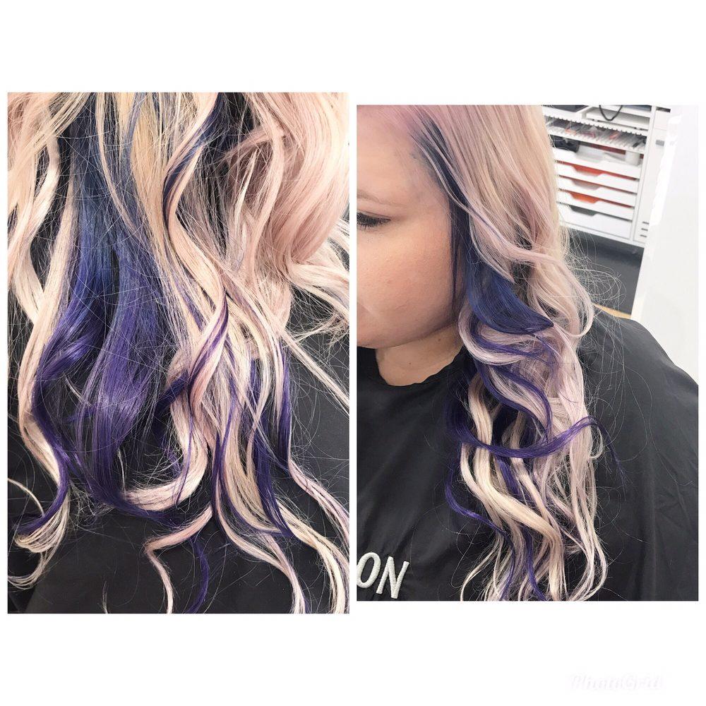 Blue To Purple Underneath Color Melt With A Violet Platinum Blonde
