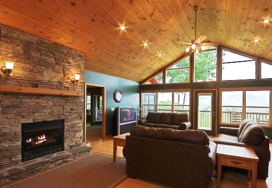 Great Room With Cathedral Ceiling Wall Of Windows