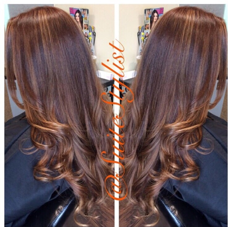 Copper Red Hair Color With Complimenting Lighter Copper Highlights