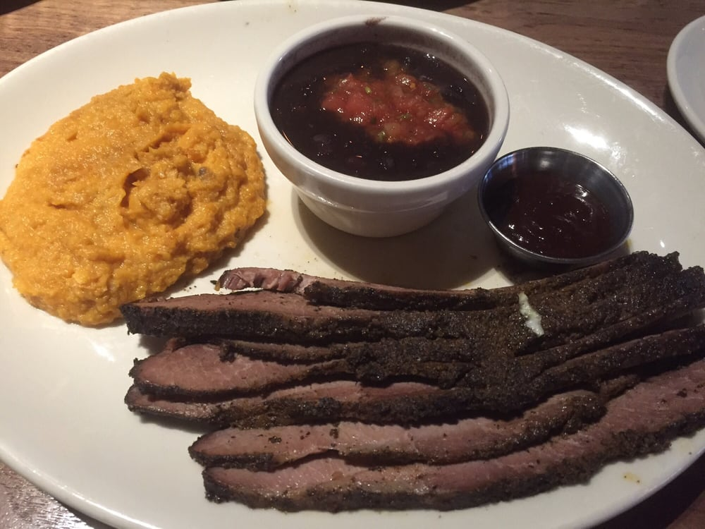 Photo of Wood Ranch BBQ & Grill - San Diego, CA, United States. - Double R Ranch Brisket With Smashed Sweet Potatoes And Vegetarian