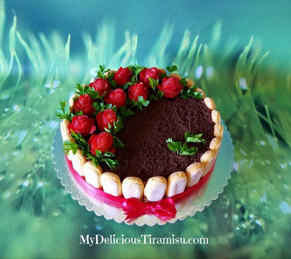 Clic Tiramisu Cake with fresh strawberries and parsley ... on