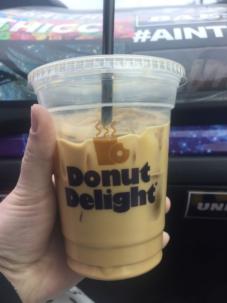 Photo Of Donut Delight Norwalk Ct United States Iced Coffee Light And