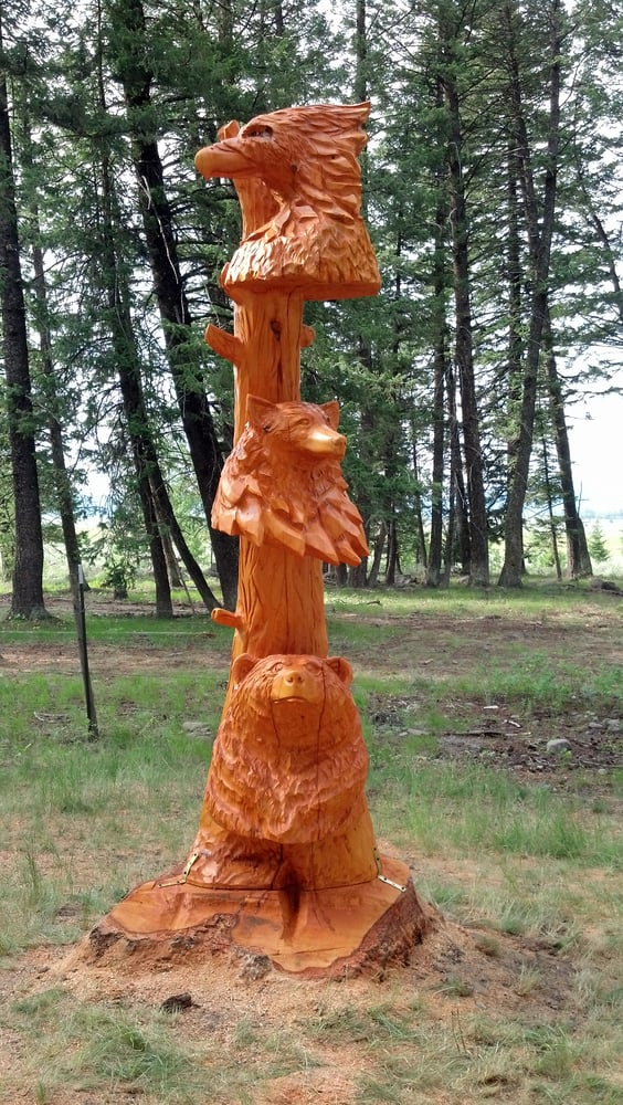 Non traditional totem pole chainsaw wood carving yelp