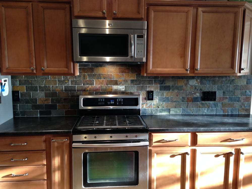 slate tile backsplash and led lighting kitchen project yelp