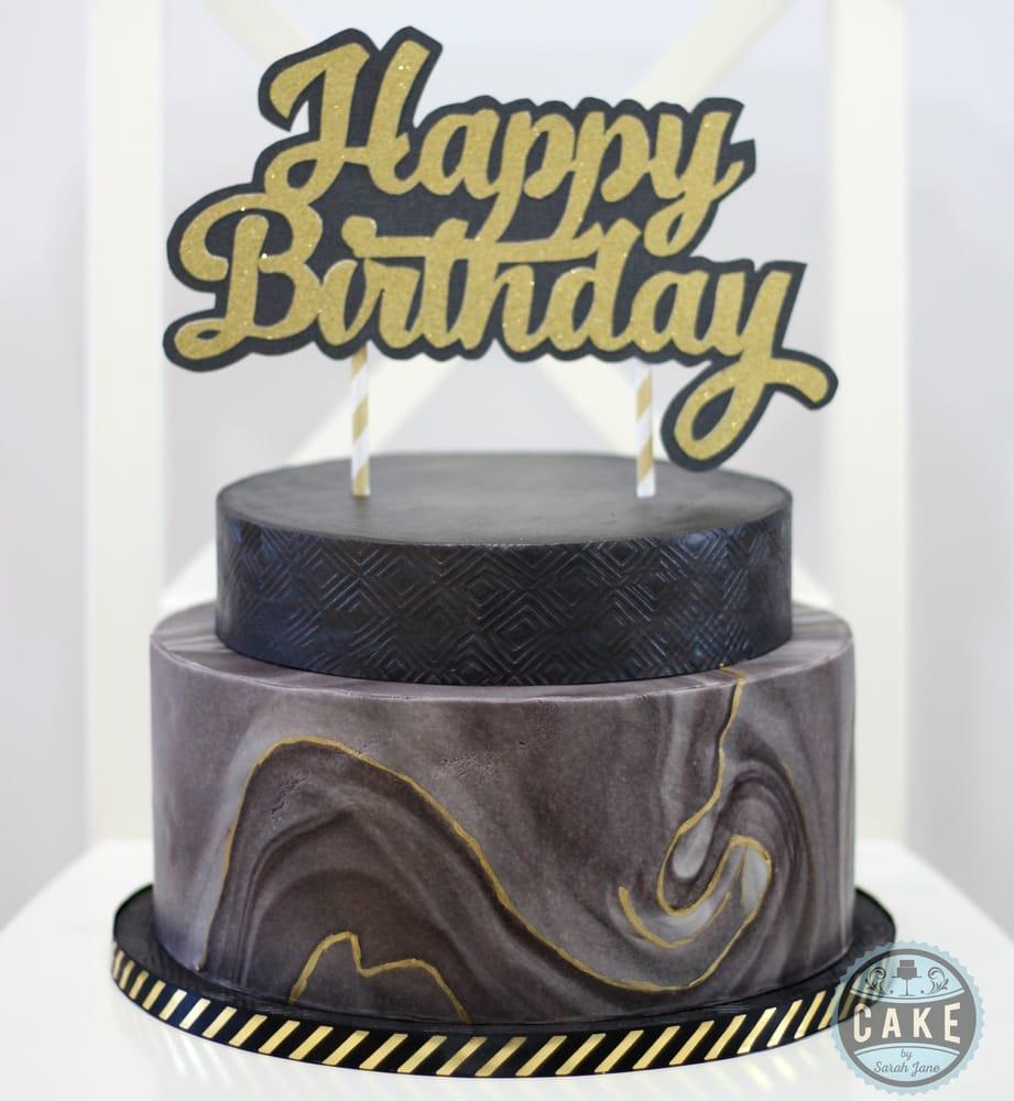 Black Gold Marble Birthday Cake Yelp