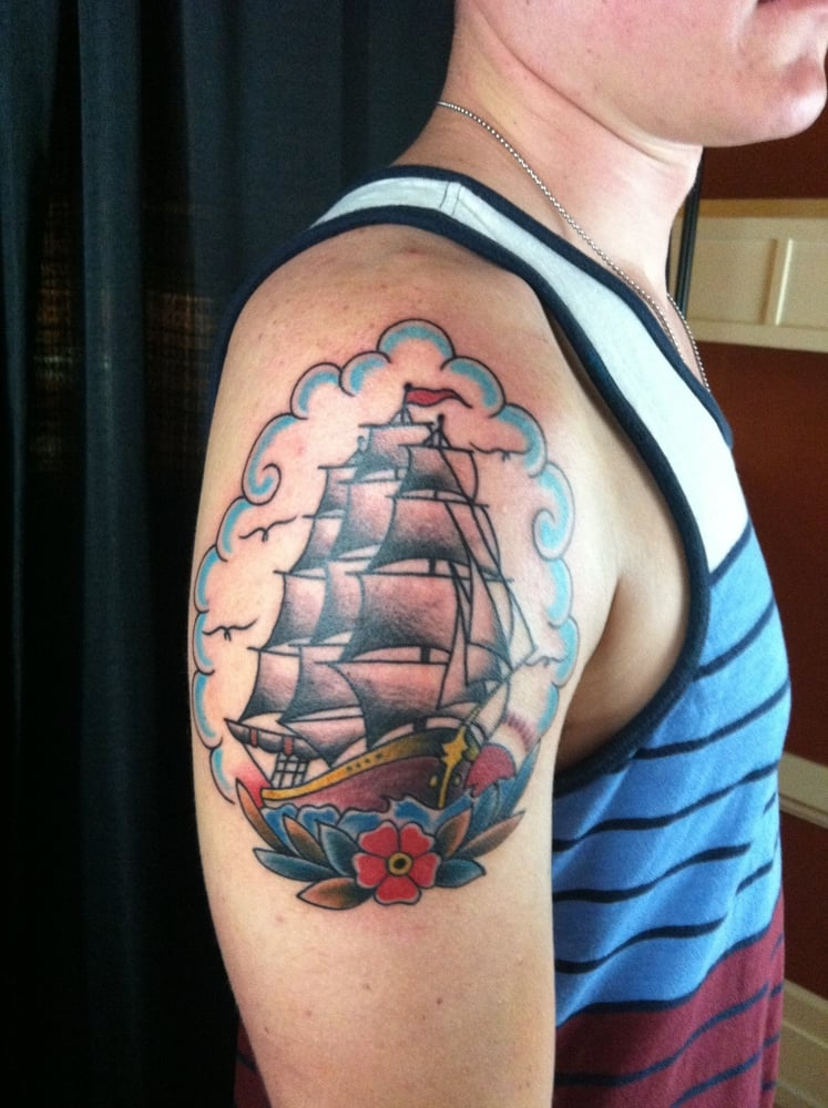 Traditional clipper ship tattoo by lucky yelp for Tattoo charleston sc