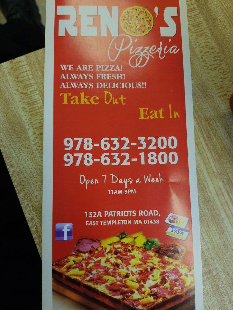 Reno's Pizza: 132 Patriots Rd, Templeton, MA