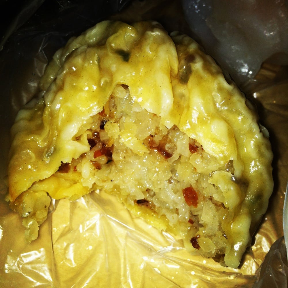 ... , CA, United States. Inside of the giant wonton sticky rice ball