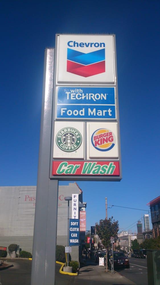 Chevron Gas Station Extramile Burger King Starbucks