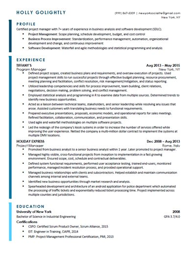 example project manager resume yelp