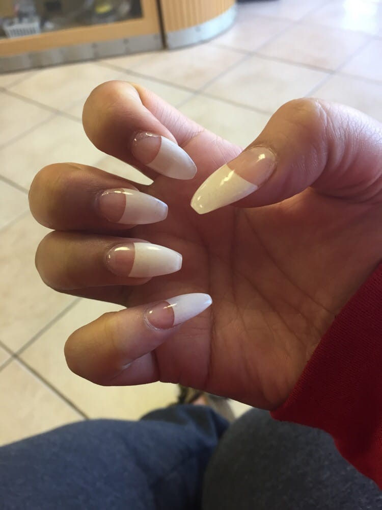 Solar nails, white tips, coffin shape - Yelp