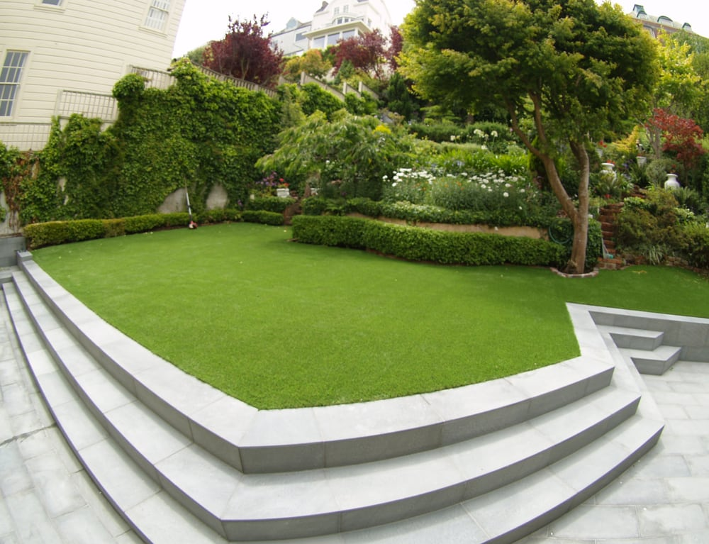 Artificial Lawn Installed In A Backyard With A Beautiful