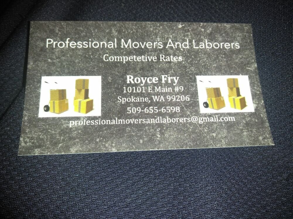 Professional Movers and Laborers: 10101 E Main, Spokane Valley, WA