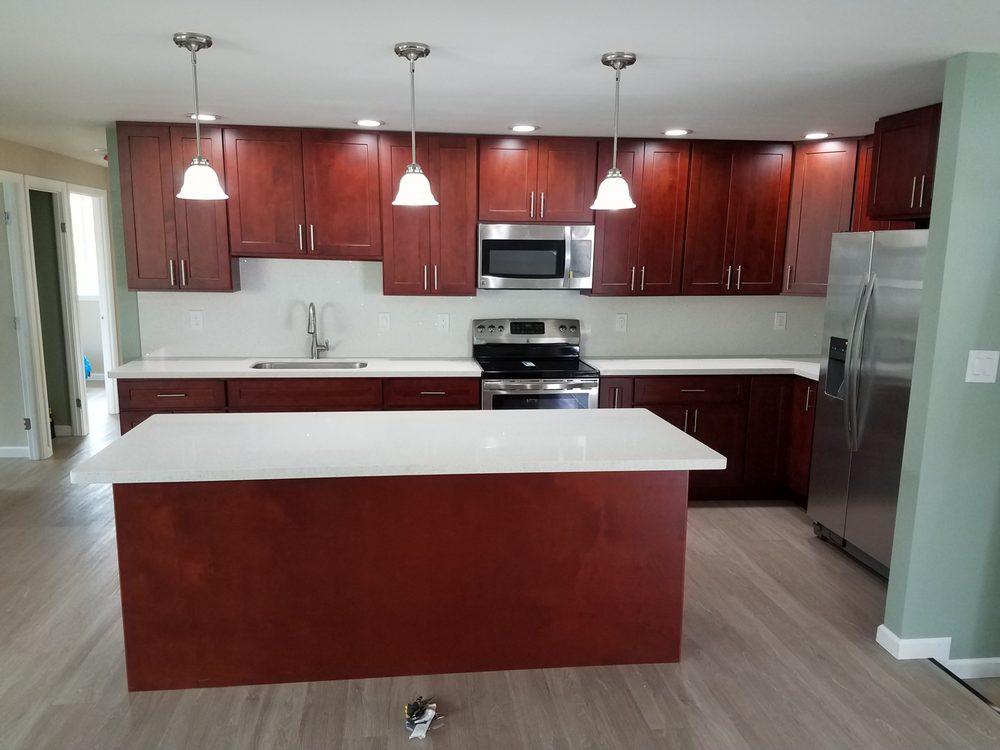 3 Kitchen After Remodel Dark Cherry Cabinets Quartz Countertop