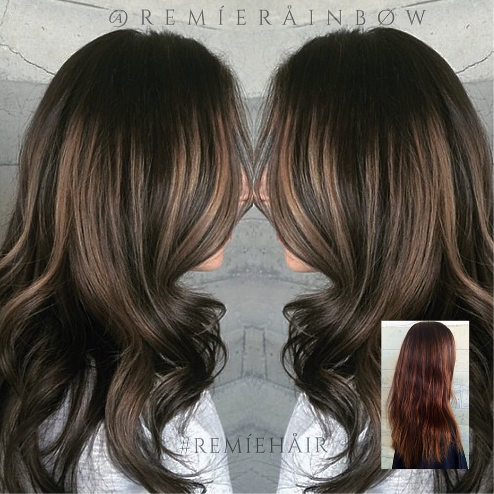 Photo of Remie Rainbow Hair and Makeup - Encino CA United States. Rooty & Rooty cool brunette balayage high and low lights color correction ... azcodes.com