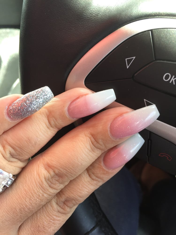 Perfect Ombré Glitter Pink And White With Silver Shellac Coffin