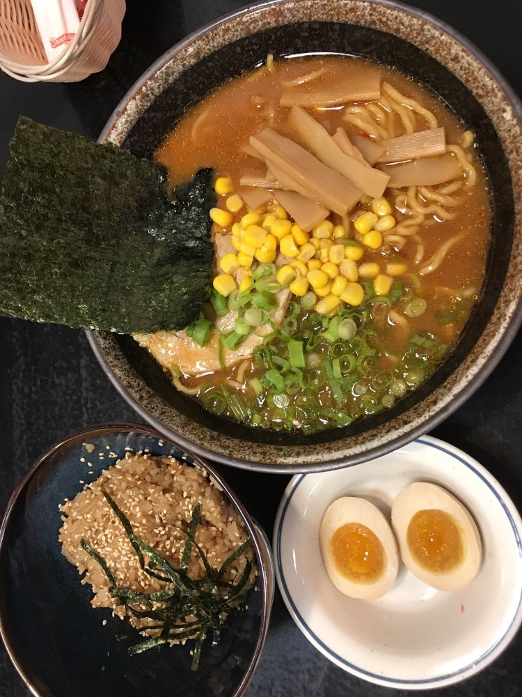 Miso ramen with eggs on the side with season rice combo - Yelp