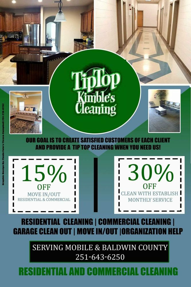 TipTop Kimble's Cleaning Service: 311 Shelton Beach Rd, Saraland, AL