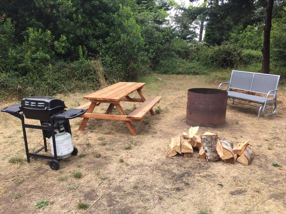 Fire pit grill picnic table and bench included with our